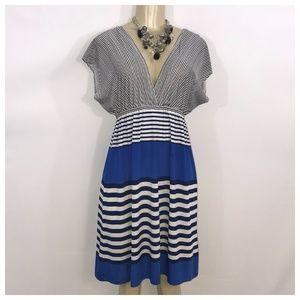 Blue & White Stripe V-Neck Dress Medium
